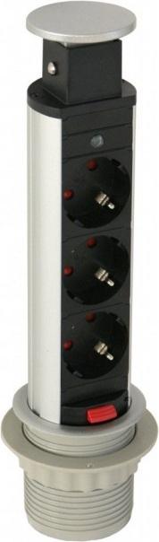 Встраиваемая выдвижная розетка GTV AE-BPW3S60-80 серая